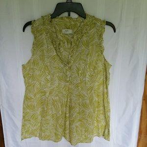 Green and white Ann Taylor Loft tank blouse